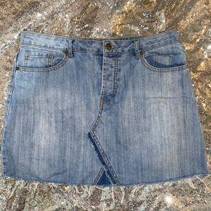 Forever 21 Button-fly Frayed Denim Skirt